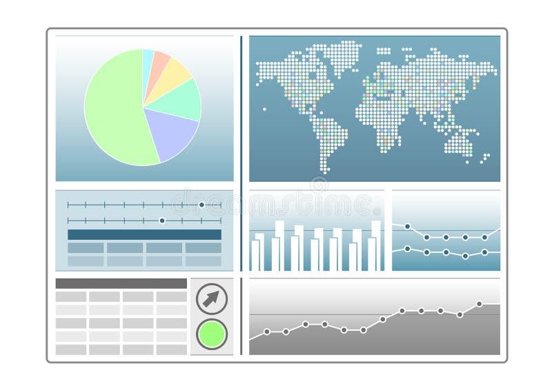 Molde do painel da analítica com carta de torta, mapa do mundo, linha carta ilustração stock