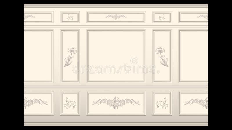 Molde do painel de parede do estuque sem emenda ilustração stock