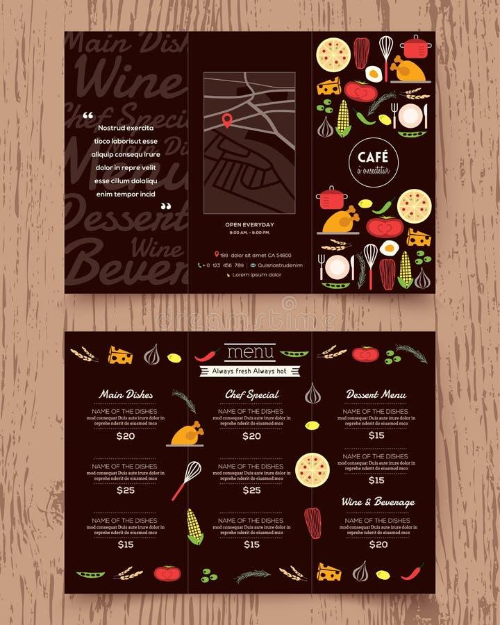 Molde do panfleto do projeto do menu do restaurante ilustração stock