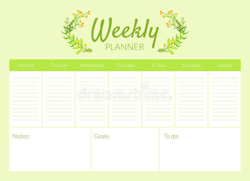 Molde do planejador, organizador e ilustração semanais do vetor da programação ilustração do vetor