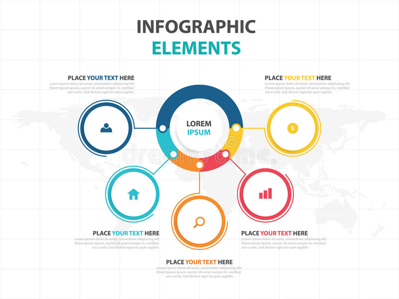Molde do processo do espaço temporal de Infographic do negócio, bandeira colorida ilustração stock