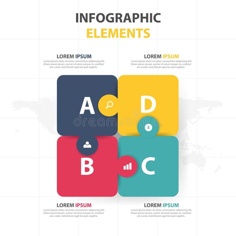 Molde do processo do espaço temporal de Infographic do negócio, desgin colorido da caixa de texto da bandeira para a apresentação ilustração stock