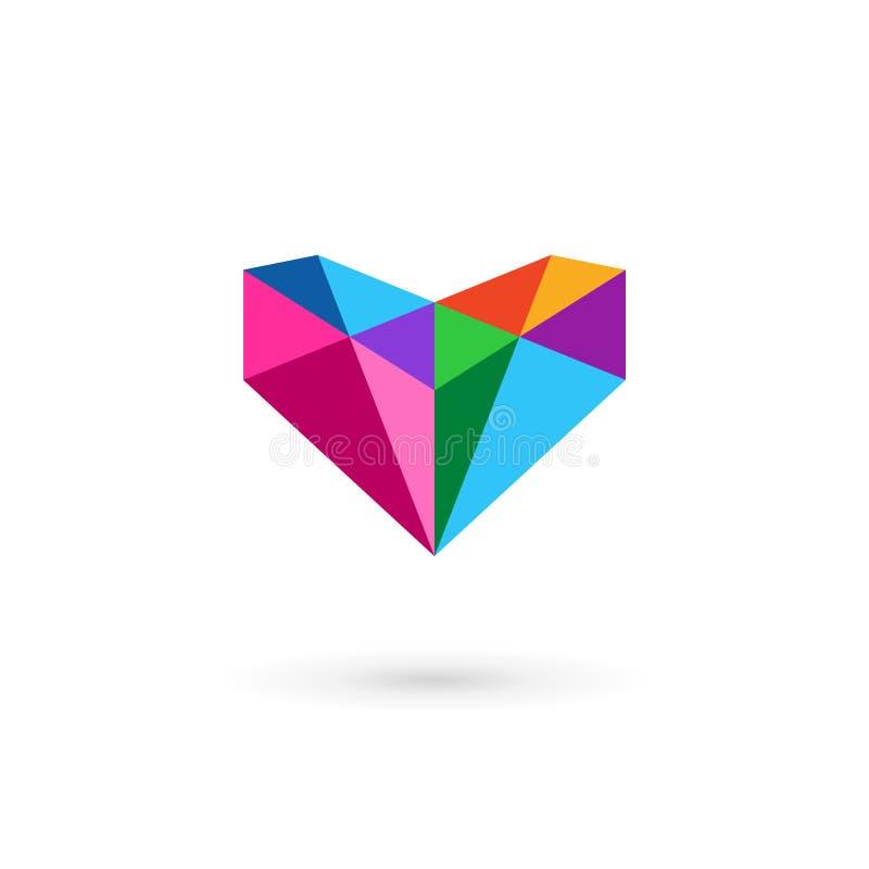Molde do projeto do ícone do logotipo do diamante com letra V e coração ilustração stock