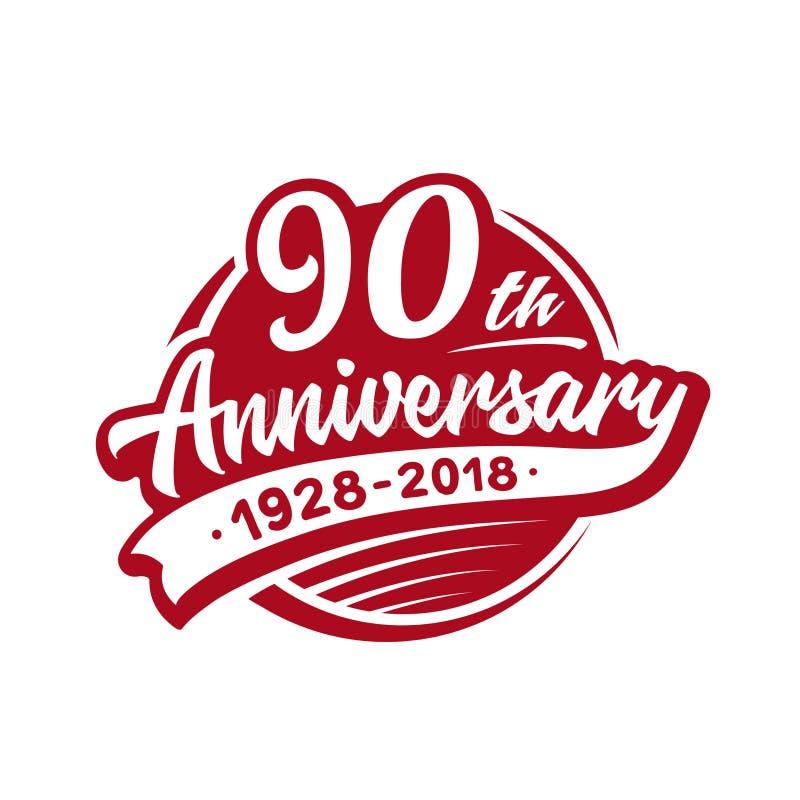 molde do projeto do aniversário 90years Vetor e ilustração 90th logotipo ilustração stock