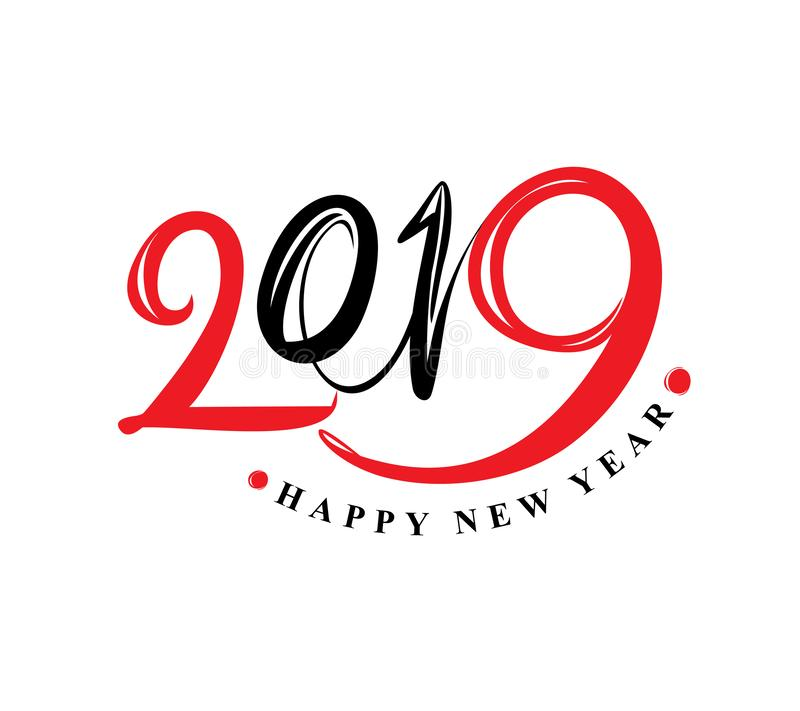 Molde 2019 do projeto Ano novo feliz ilustração royalty free