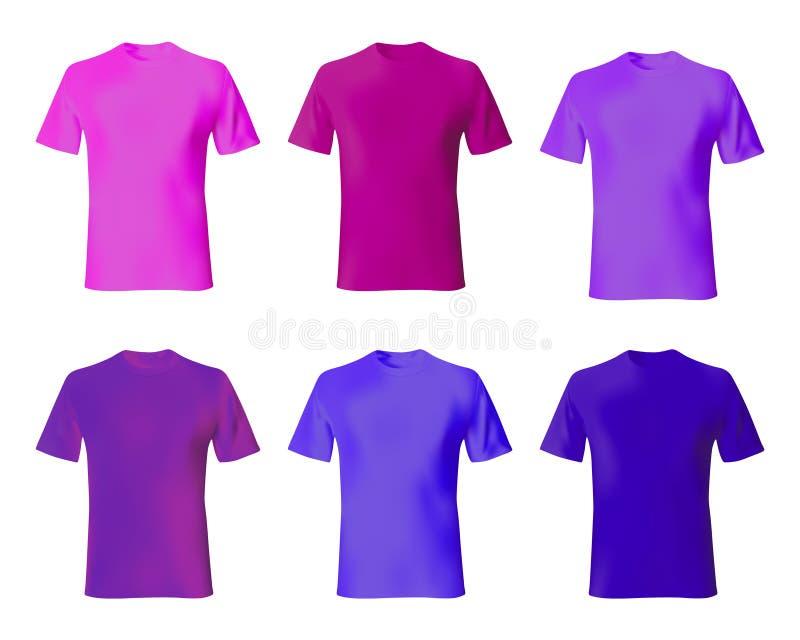 Molde do projeto Camisas ajustadas azuis, cor roxa, cor-de-rosa dos homens Zombaria realística acima da forma masculina do modelo ilustração royalty free