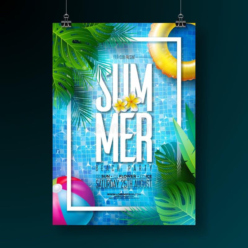 Molde do projeto do cartaz da festa na piscina do verão com água, folhas de palmeira tropicais, bola de praia e flutuador no fund ilustração stock