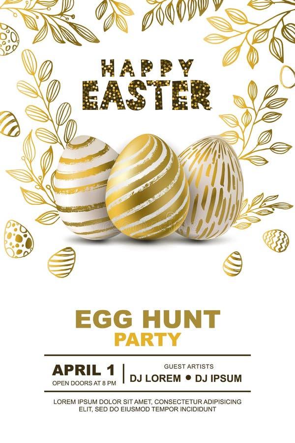 Molde do projeto do cartaz do vetor do partido da caça do ovo da páscoa Conceito para a bandeira, inseto, convite, cartão, fundos ilustração royalty free