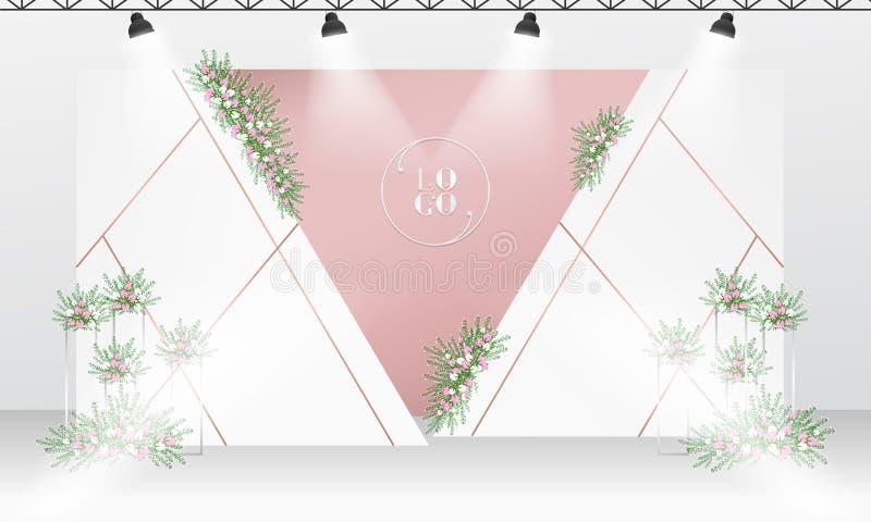 Molde do projeto do contexto do casamento com cor branca e cor-de-rosa do ouro ilustração stock