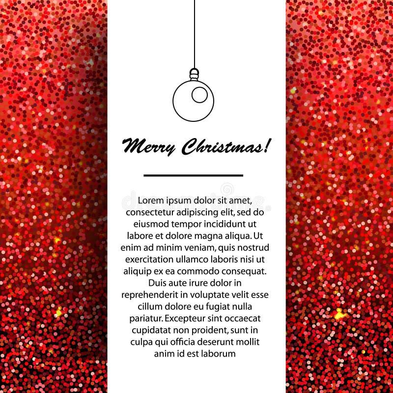Molde do projeto da bandeira do ano novo e do Natal Cumprimentos sazonais dos feriados de inverno no fundo de brilho vermelho ilustração do vetor