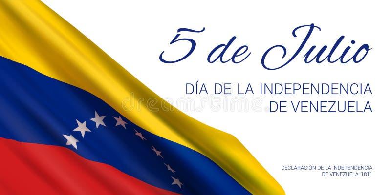 Molde do projeto da bandeira com a bandeira da Venezuela e do texto ilustração do vetor