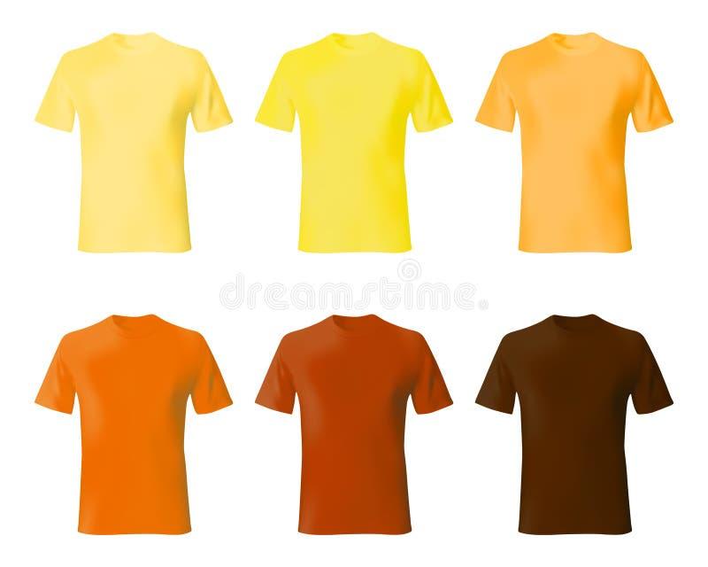 Molde do projeto da camisa Ajuste a camisa dos homens t cor amarela, alaranjada, marrom Forma masculina modelo das camisas realís ilustração royalty free