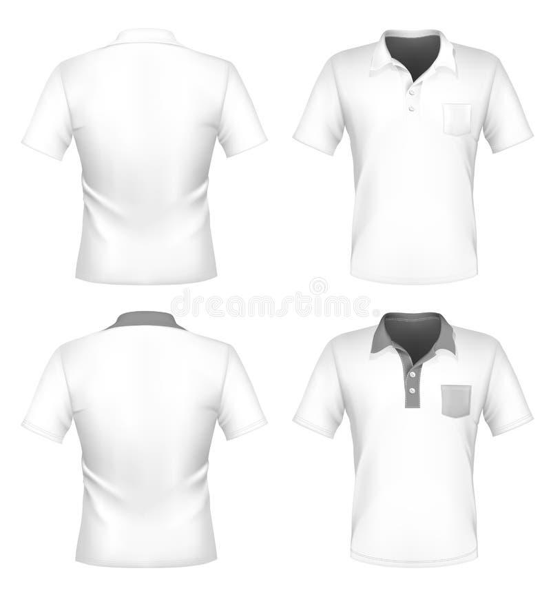 Molde do projeto da camisa de polo dos homens com bolso ilustração do vetor
