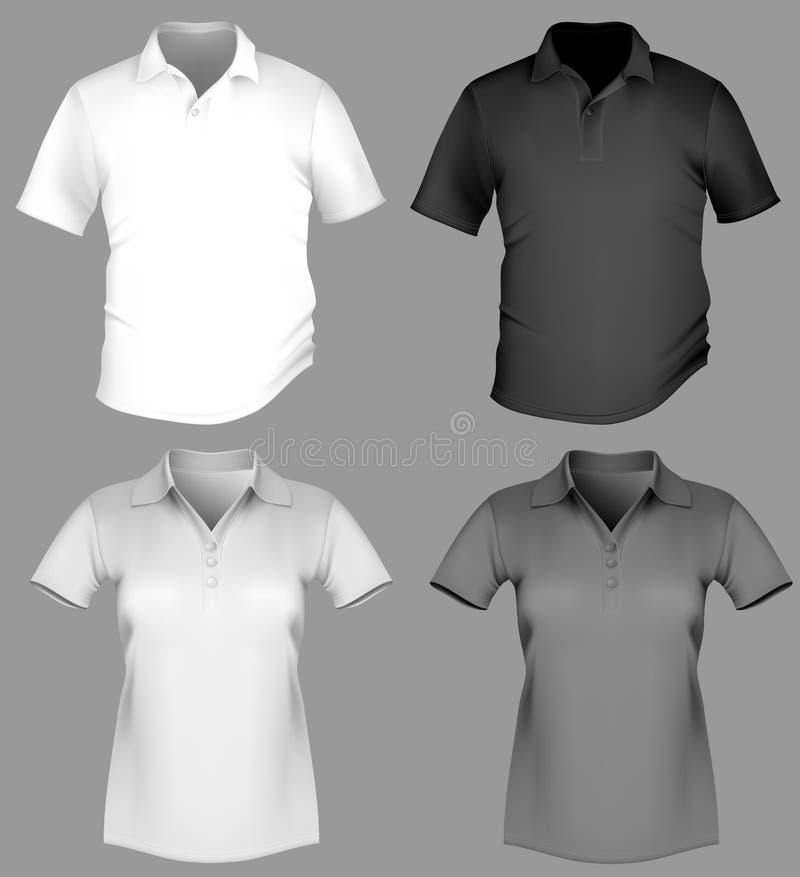 Molde do projeto da camisa de polo (homens e mulheres). ilustração stock