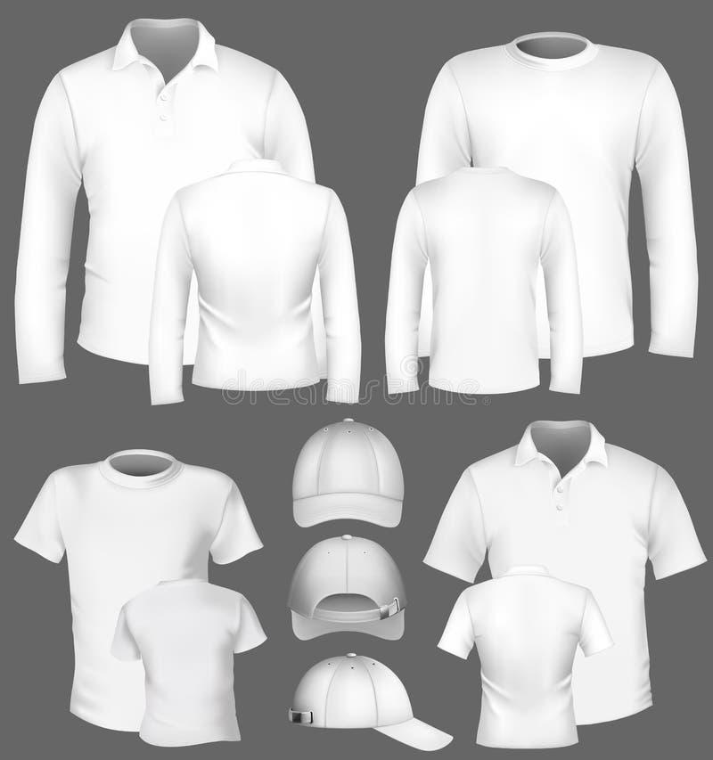 Molde do projeto da camisa e do t-shirt de polo ilustração royalty free