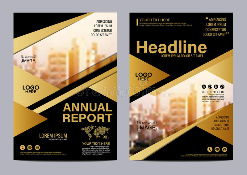 Molde do projeto da disposição do folheto do ouro Fundo moderno da apresentação da tampa do folheto do inseto do informe anual ve ilustração stock