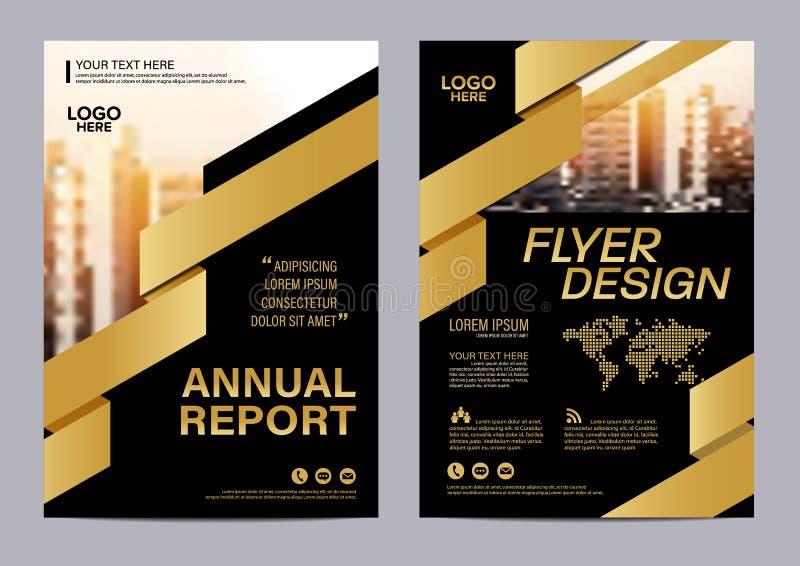 Molde do projeto da disposição do folheto do ouro Fundo moderno da apresentação da tampa do folheto do inseto do informe anual ve ilustração royalty free