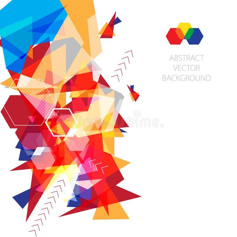 Molde do projeto da disposição do fundo do vetor triângulos coloridos do fundo para seu apresentação, folheto ou catálogo ilustração do vetor