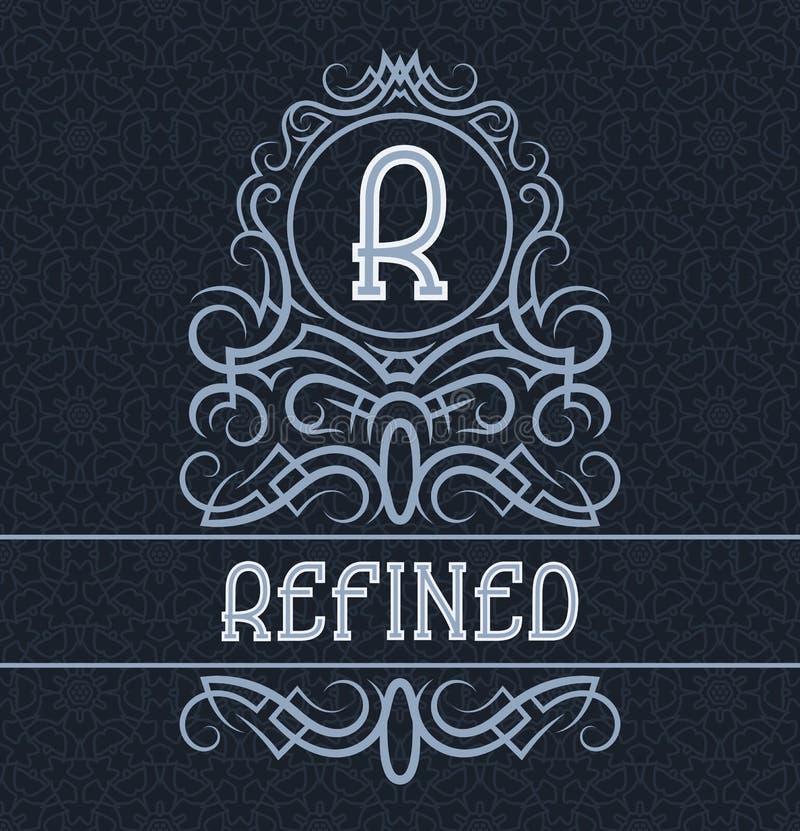 Molde do projeto da etiqueta do vintage para o produto refinado Monograma do vetor com texto no fundo modelado ilustração royalty free