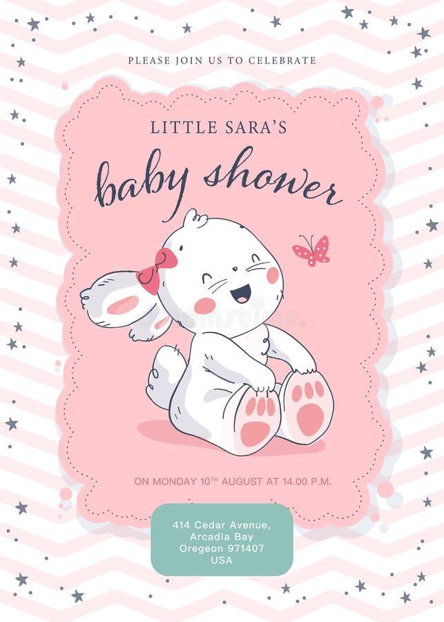 Molde do projeto da festa do bebê do vetor Mão bonito caráter pequeno tirado do coelho Configura??o lisa ilustração stock
