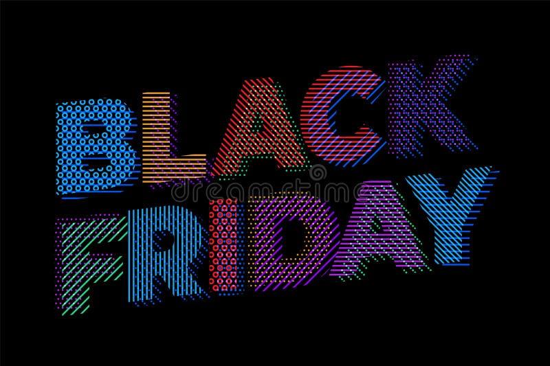 Molde do projeto da inscrição da venda de Black Friday Bandeira preta de sexta-feira Ilustração do vetor