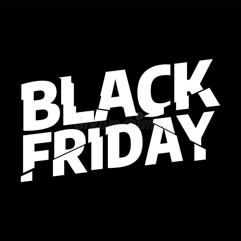 Molde do projeto da inscrição da venda de Black Friday Bandeira da tipografia de Black Friday Ilustração do vetor