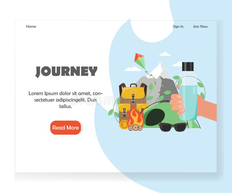 Molde do projeto da página da aterrissagem do Web site da agência da excursão do vetor ilustração stock