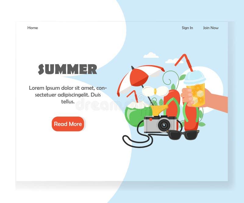 Molde do projeto da página da aterrissagem do Web site do verão do vetor ilustração do vetor