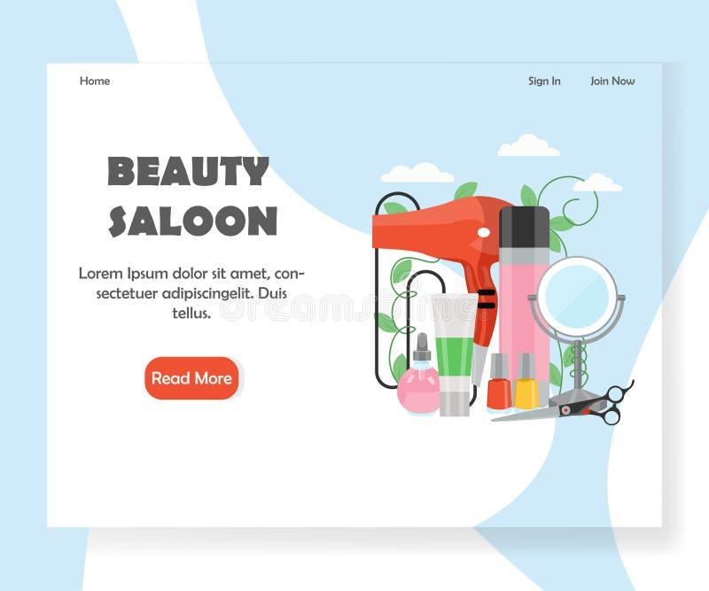 Molde do projeto da página da aterrissagem do Web site do vetor do bar da beleza ilustração royalty free
