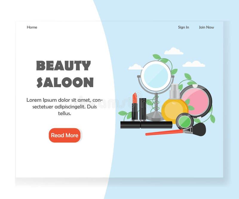 Molde do projeto da página da aterrissagem do Web site do vetor do bar da beleza ilustração do vetor