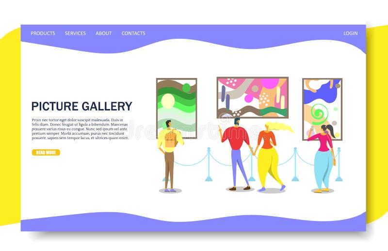 Molde do projeto da página da aterrissagem do Web site do vetor da galeria fotográfica ilustração do vetor