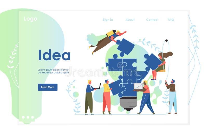 Molde do projeto da p?gina da aterrissagem do Web site do vetor da ideia ilustração stock