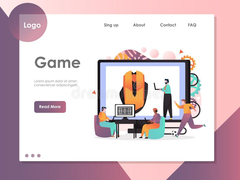 Molde do projeto da página da aterrissagem do Web site do vetor do jogo ilustração stock