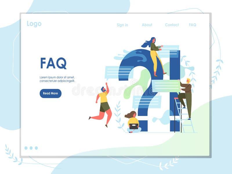 Molde do projeto da p?gina da aterrissagem do Web site do vetor do FAQ ilustração royalty free