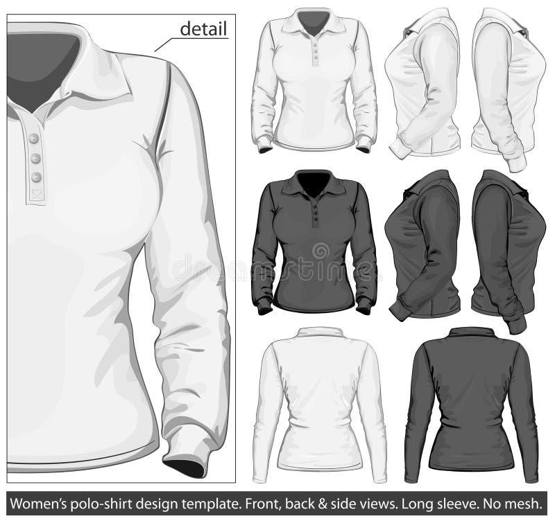 Molde do projeto da polo-camisa das mulheres. Luva longa ilustração royalty free