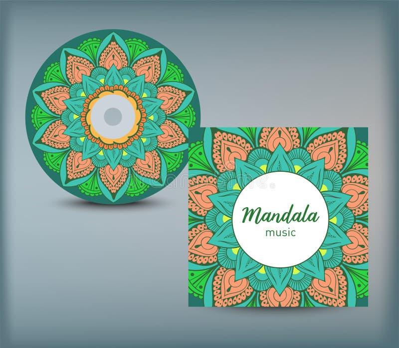 Molde do projeto da tampa do CD com estilo floral da mandala Árabe, indiano, Paquistão, motivo asiático Ilustração do vetor ilustração royalty free