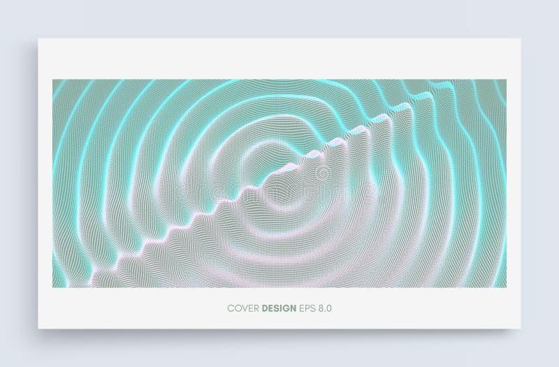 Molde do projeto da tampa para anunciar fundo 3D ondulado com efeito de ondinha Ilustração do vetor com partícula superfície da g ilustração do vetor