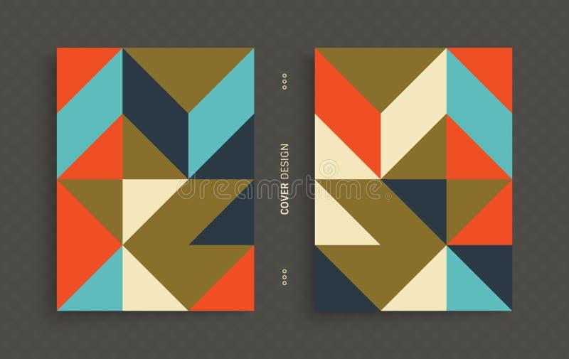 Molde do projeto da tampa para anunciar Projeto geométrico colorido abstrato ilustração stock