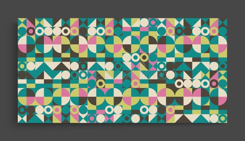 Molde do projeto da tampa para anunciar Projeto geométrico colorido abstrato O teste padrão pode ser usado como um molde para o f ilustração stock