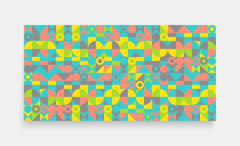 Molde do projeto da tampa para anunciar Projeto geométrico colorido abstrato O teste padrão pode ser usado como um molde para o f ilustração do vetor