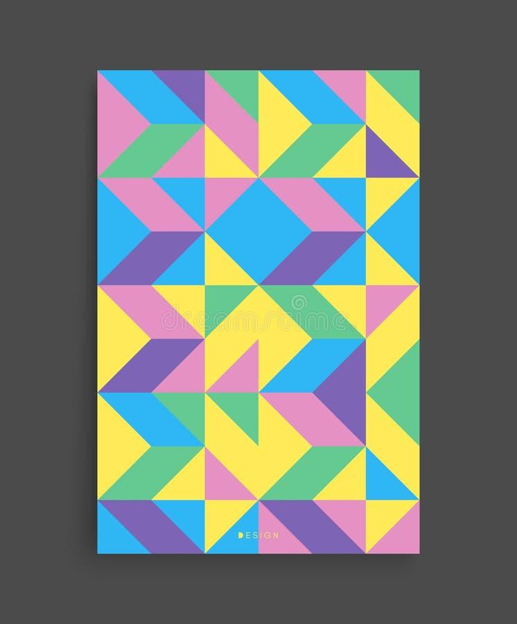 Molde do projeto da tampa para anunciar Projeto geométrico colorido abstrato O teste padrão pode ser usado como um molde para o f ilustração royalty free