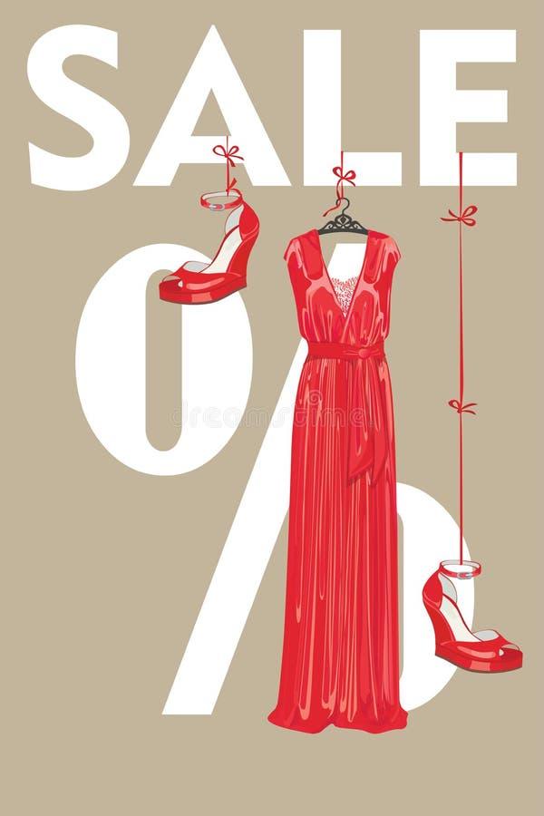 Molde do projeto da venda. Vestido de partido vermelho e sapatas colocadas saltos elevação ilustração stock