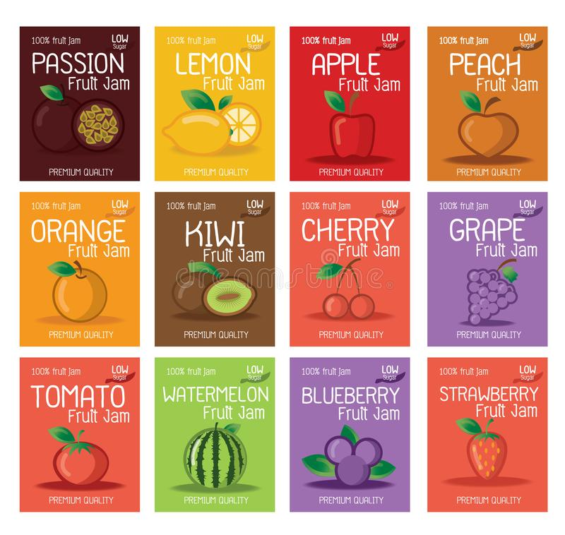 Molde do projeto das etiquetas do doce do fruto ilustração royalty free