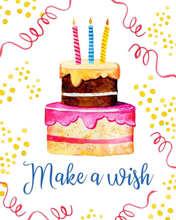 Molde do projeto de cartão do aniversário com bolo, velas, decorações O título faz um desejo Ilustração tirada mão do esboço da a ilustração royalty free