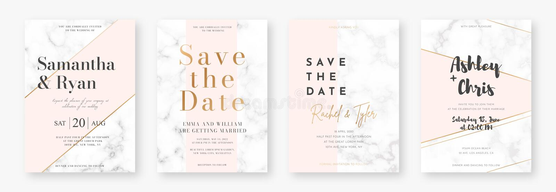 Molde do projeto de cartão do casamento com quadros dourados e textura de mármore Ajuste do anúncio ou do convite do casamento ilustração royalty free