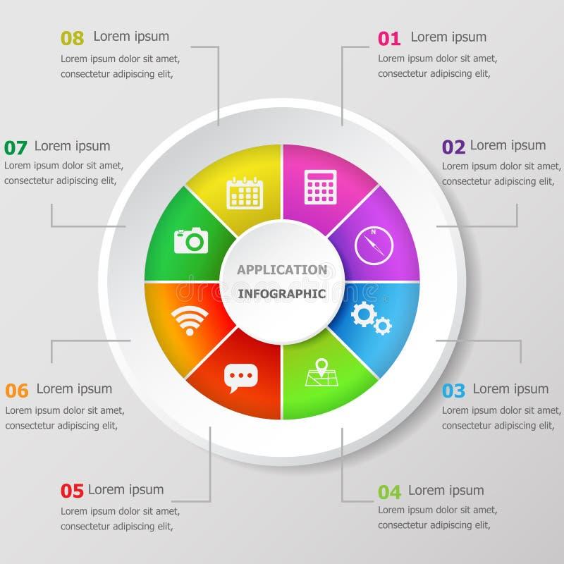 Molde do projeto de Infographic com ícones da aplicação ilustração royalty free