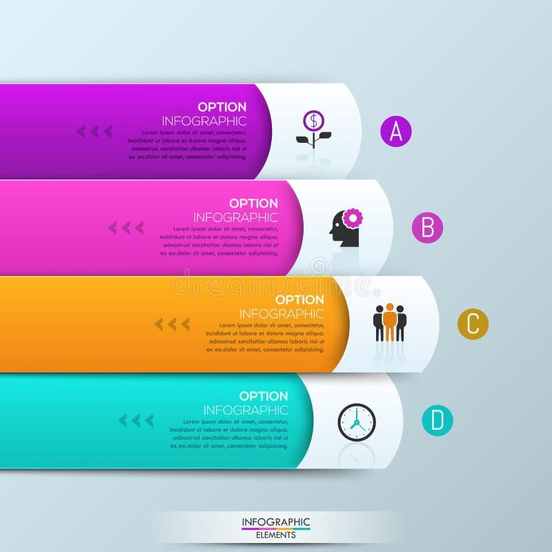 Molde do projeto de Infographic com 4 camadas retangulares ilustração do vetor