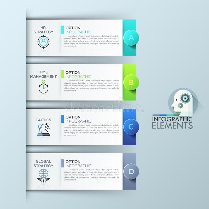Molde do projeto de Infographic com 4 elementos retangulares, opções para o sucesso comercial ilustração royalty free