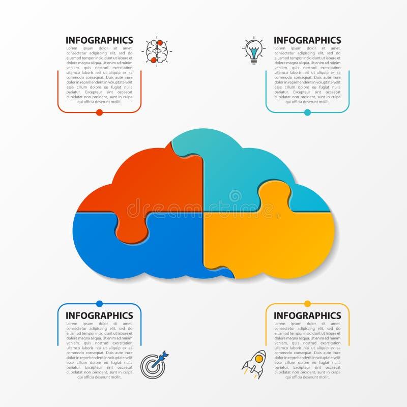 Molde do projeto de Infographic com 4 etapas Vetor ilustração stock