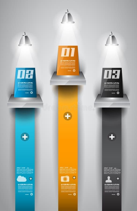 Molde do projeto de Infographic com etiquetas de papel ilustração do vetor